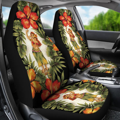 Hawaiian Flower Hula Hibiscus Print Universal Fit Car Seat Covers
