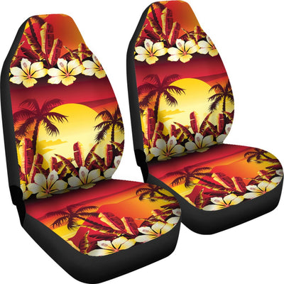 Hawaiian Tropical Sunset Hibiscus Print Universal Fit Car Seat Covers