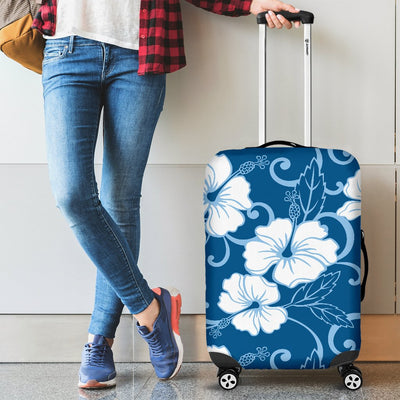 Hibiscus Blue Flower Hawaiian Print Luggage Cover Protector