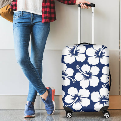Hibiscus Blue Hawaiian Flower Pattern Luggage Cover Protector