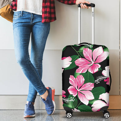 Hibiscus Pink Flower Hawaiian Print Luggage Cover Protector