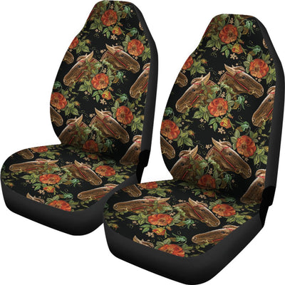 Horse Embroidery with Flower Design Universal Fit Car Seat Covers