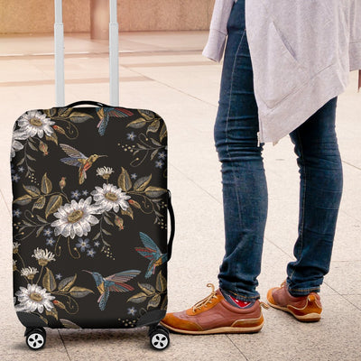 Hummingbird With Embroidery Themed Print Luggage Cover Protector