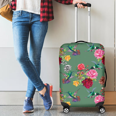 Hummingbird With Rose Themed Print Luggage Cover Protector