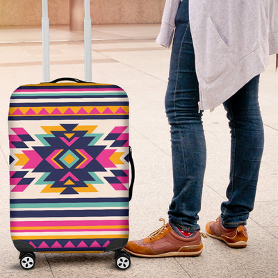 Indian Navajo Neon Themed Design Print Luggage Cover Protector