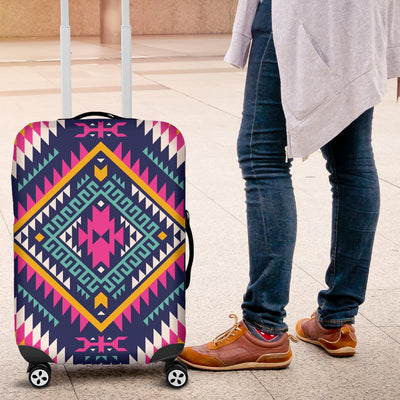 Indian Navajo Pink Themed Design Print Luggage Cover Protector