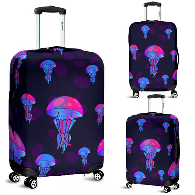 Jellyfish Neon Print Luggage Cover Protector