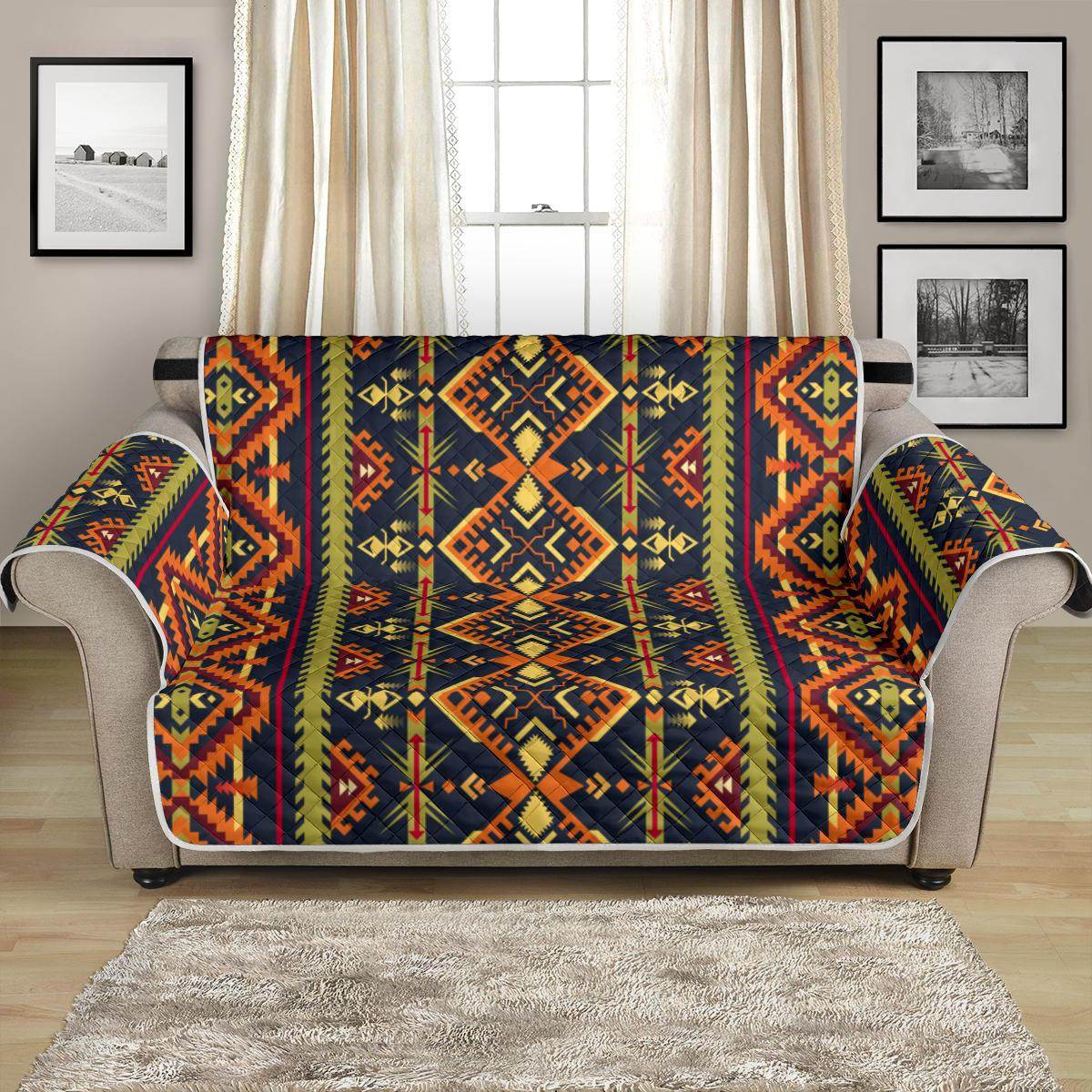 Kente Green Design African Print Loveseat Couch Cover Protector