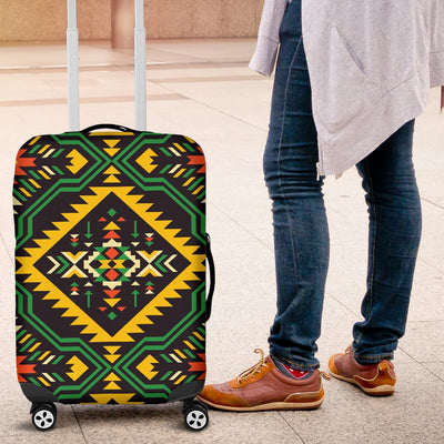 Kente Green Design African Print Luggage Cover Protector