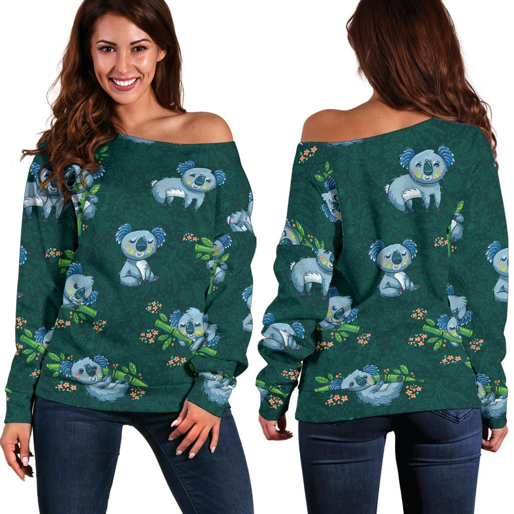 Koala Blue Design Print Off Shoulder Sweatshirt