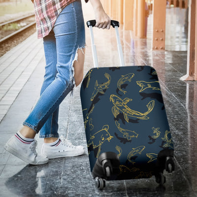 Koi Carp Gold Design Themed Print Luggage Cover Protector