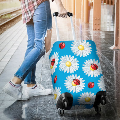 Ladybug With Daisy Themed Print Pattern Luggage Cover Protector