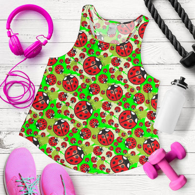Ladybug with Leaf Print Pattern Women Racerback Tank Top