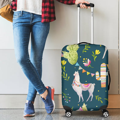 Llama with Cactus Design Print Luggage Cover Protector