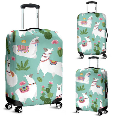 Llama With Cactus Themed Print Luggage Cover Protector