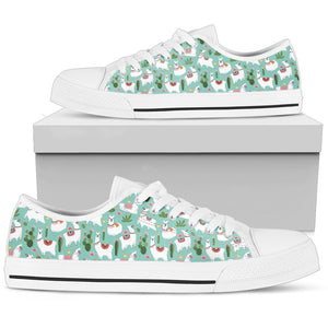 Llama with Cactus Themed Print Women Low Top Shoes