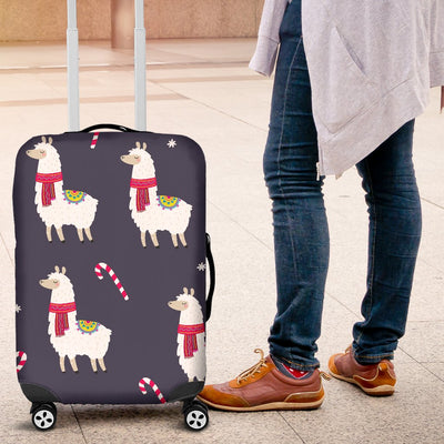 Llama With Candy Cane Themed Print Luggage Cover Protector