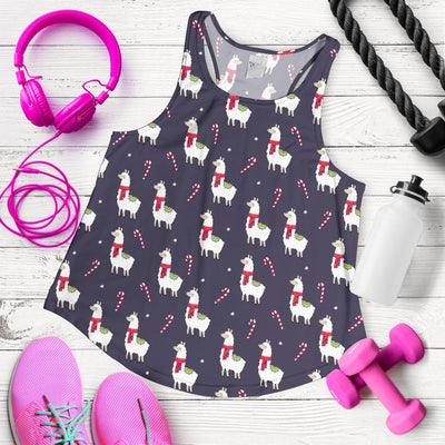 Llama With Candy Cane Themed Print Women Racerback Tank Top