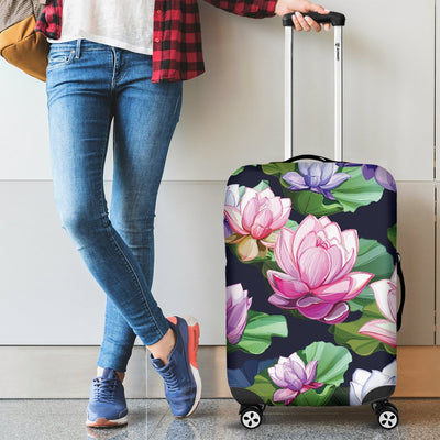 Lotus Flower Print Design Luggage Cover Protector