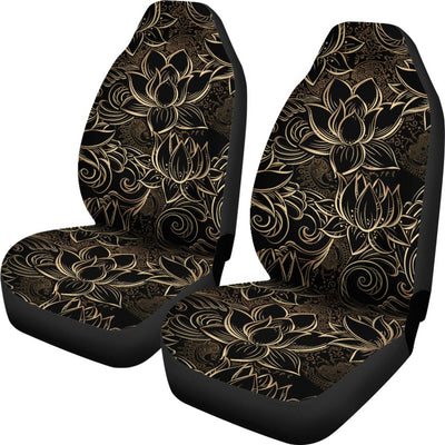 Lotus Gold Mandala Design Themed Universal Fit Car Seat Covers