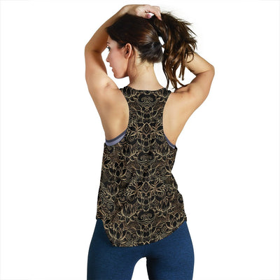 Lotus Gold Mandala Design Themed Women Racerback Tank Top
