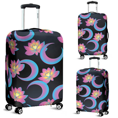 Lotus With Moon Pink Print Themed Luggage Cover Protector