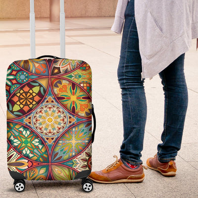Mandala Flower Themed Design Print Luggage Cover Protector