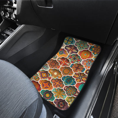Mandala Mosaic Themed Design Print Car Floor Mats