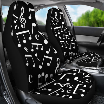 Music Note Black white Themed Print Universal Fit Car Seat Covers