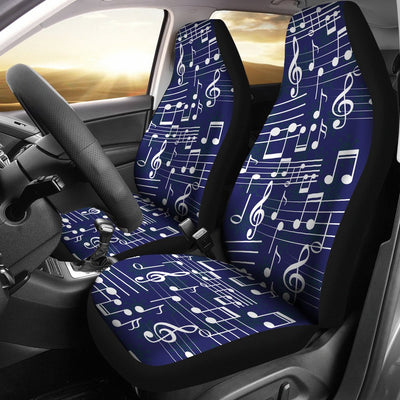 Music Note Blue Themed Print Universal Fit Car Seat Covers