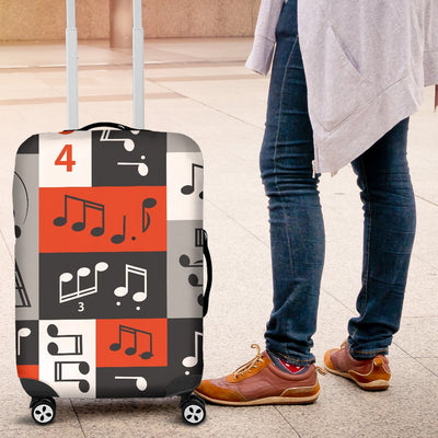Music Note Design Themed Print Luggage Cover Protector