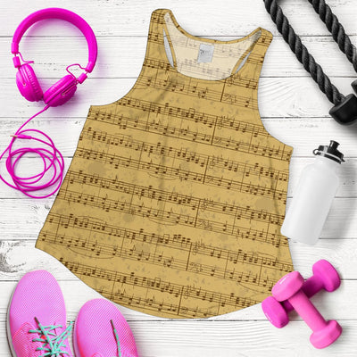 Music Note Vintage Themed Print Women Racerback Tank Top