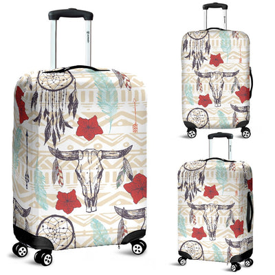 Native Buffalo Head Themed Design Print Luggage Cover Protector