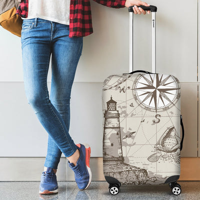 Nautical Map Design Themed Print Luggage Cover Protector
