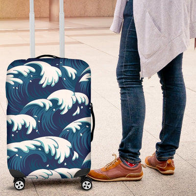 Ocean Wave Pattern Print Luggage Cover Protector