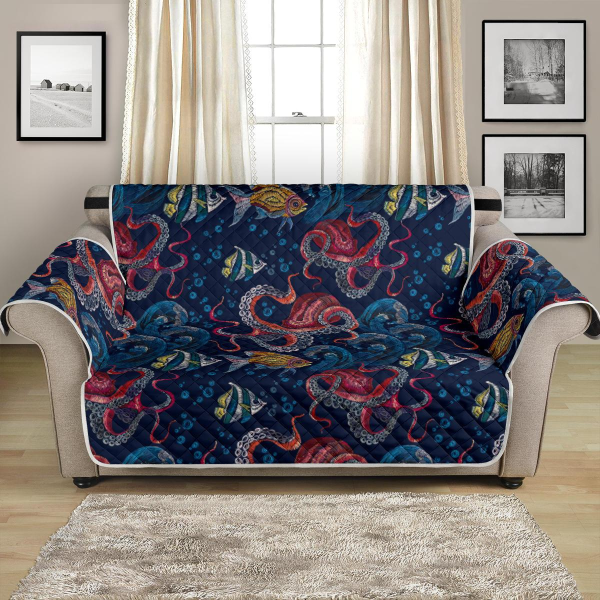 Octopus Deep Sea Print Themed Loveseat Couch Cover Protector
