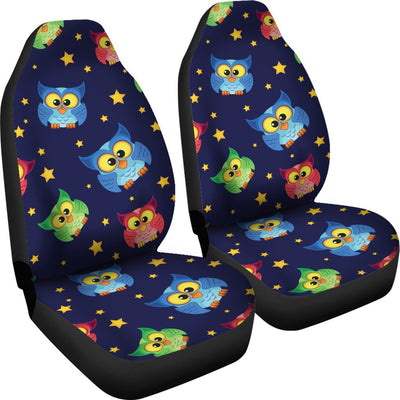 Owl with Star Themed Design Print Universal Fit Car Seat Covers