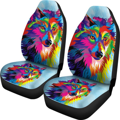 Painted Colorful Wolf Design No1 Print Universal Fit Car Seat Covers