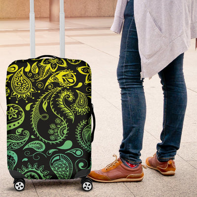 Paisley Green Design Print Luggage Cover Protector