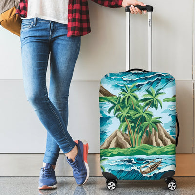 Palm Tree Hawaiian Themed Design Print Luggage Cover Protector