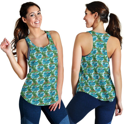Palm Tree Hawaiian Themed Design Print Women Racerback Tank Top