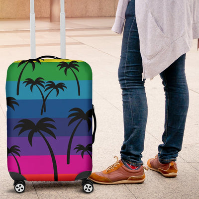 Palm Tree Rainbow Themed Print Luggage Cover Protector