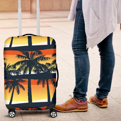 Palm Tree Sunset Design Print Luggage Cover Protector