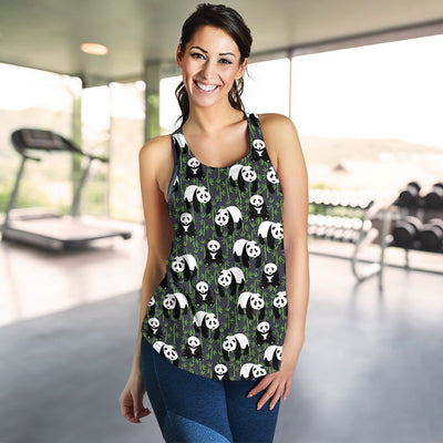 Panda Bear Bamboo Themed Print Women Racerback Tank Top