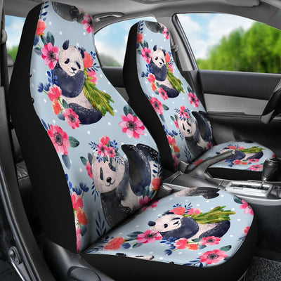 Panda Bear Flower Design Themed Print Universal Fit Car Seat Covers