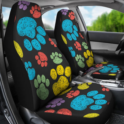 Paw Colorful Print Universal Fit Car Seat Covers