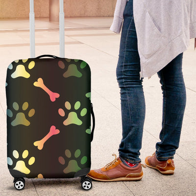 Paw Rainbow Print Luggage Cover Protector