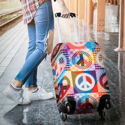 Peace Sign Patchwork Design Print Luggage Cover Protector