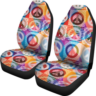 Peace Sign Patchwork Design Print Universal Fit Car Seat Covers