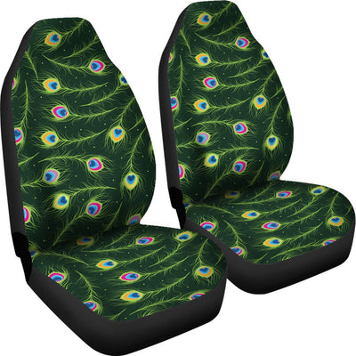 Peacock Feather Green Design Print Universal Fit Car Seat Covers